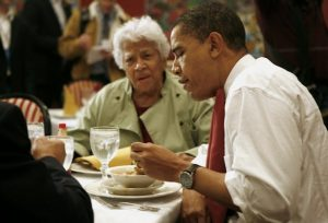 President Obama eats gumbo with restaurant owner Leah Chase during his visit at Dooky Chase restaurant in New Orleans, Louisiana, on February 7, 2008. Obama was in New Orleans, ahead of Louisiana's primary on February 9, and said the aftermath of Hurricane Katrina which ravaged the city in 2005 was a metaphor for a broken US government. AFP PHOTO/EMMANUEL DUNAND (Photo credit should read EMMANUEL DUNAND/AFP/Getty Images)