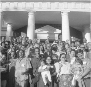Descendants of Thomas Jefferson and descendants of Sally Hemings pose for a group shot at his plantation in 1999. They were brought together for the first time in 170 years during the Monticello Association's Annual meeting in Charlottesville. LESLIE CLOSE/ASSOCIATED PRESS