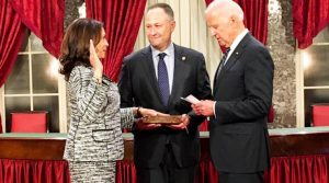 Newly elected Senator Kamala Harris receives oath of office from then Vice President Joe Biden